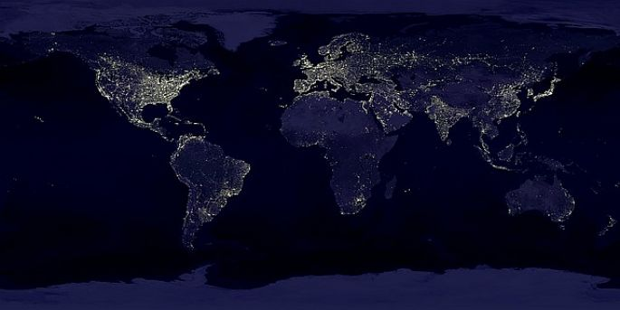 Světla na Zemi v noci